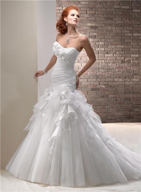Princess a line scoop neckline tulle organza wedding dress for Tulle and organza wedding dresses