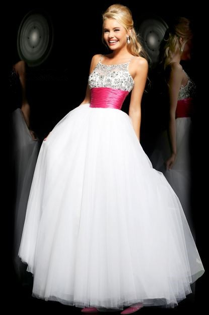 Princess A Line Spaghetti Straps Long White Tulle Beaded