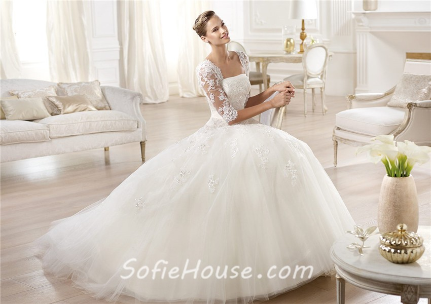 Long Sleeve Lace Ball Gown Wedding Dress: Princess A Line Strapless Backless Three Quarter Long