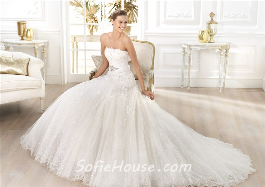Sparkly Ball Gown Wedding Dresses: Princess A Line Strapless Glitter Tulle Flower Wedding