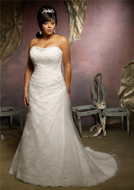 A Line Strapless Lace Tulle Ruched Plus Size Wedding Dress Lace Up ...