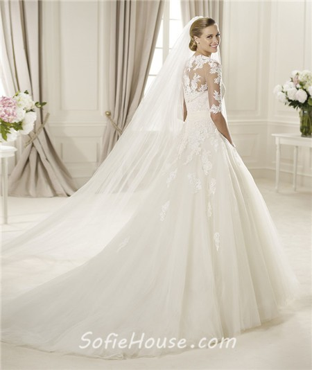 Princess A Line Strapless Lace Tulle Wedding Dress With Short Sleeve Jacket  Crystal