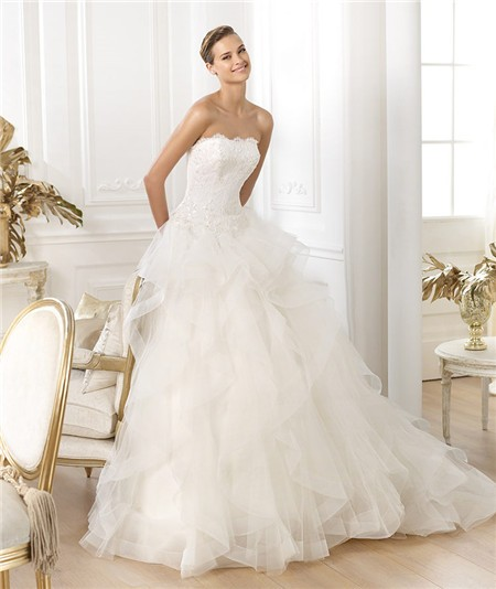 A Line Strapless Scalloped Neckline Layered Tulle Beaded Lace ...