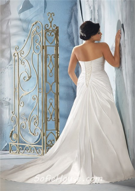 Princess A Line Strapless Sweetheart Ruched Satin Plus Size Wedding ...
