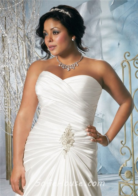 Princess a line strapless sweetheart ruched satin plus for Corset for wedding dress plus size