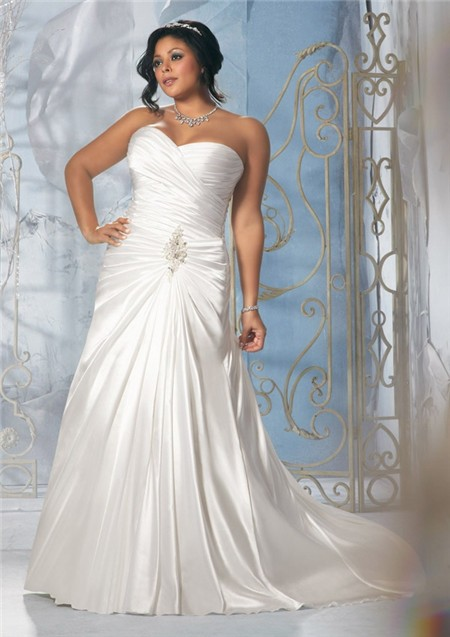 Princess a line strapless sweetheart ruched satin plus for Plus size silk wedding dresses