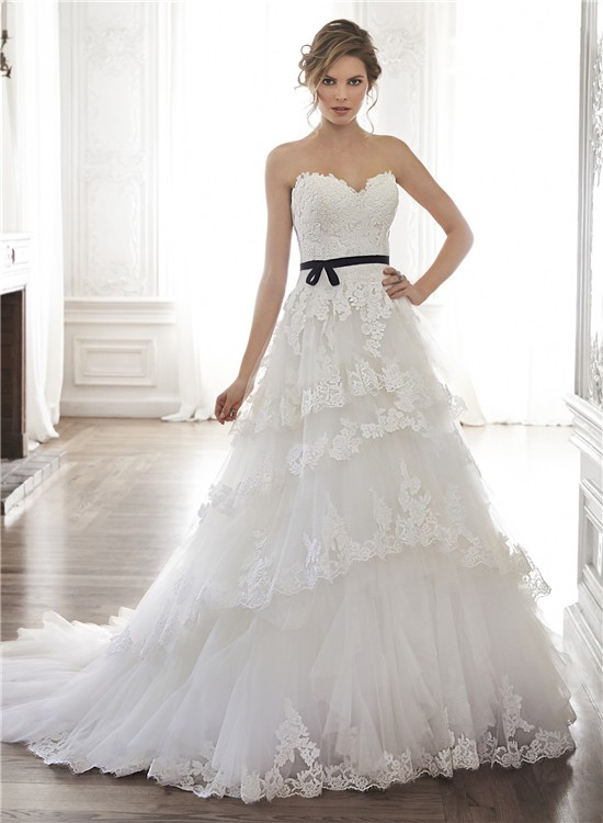 Princess A Line Strapless Tulle Lace Tiered Wedding Dress With Black