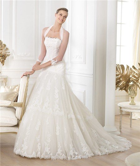 Princess a line strapless tulle lace wedding dress with for Wedding dress long sleeve lace jacket