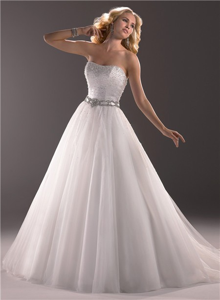 A Line Strapless Tulle Wedding Dress With Beaded Crystal Belt