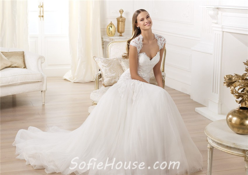Princess A Line Sweetheart Cap Sleeve Open Back Tulle Lace Wedding ...