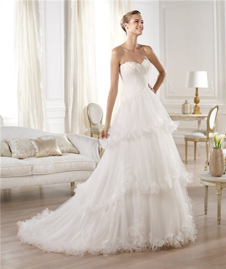 Princess a line sweetheart feather neckline layered tulle for Tulle layered wedding dress