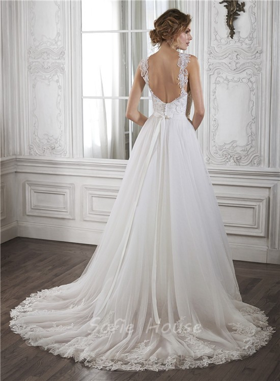 Princess a line sweetheart low back tulle lace wedding for A line sweetheart tulle wedding dress