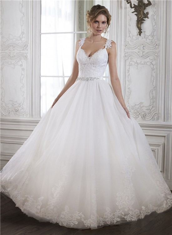 Princess a line sweetheart low back tulle lace wedding for Lace low back wedding dress