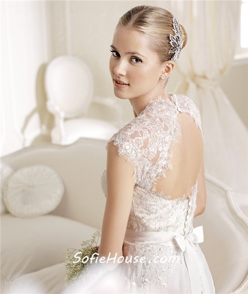 Princess A Line Sweetheart Neckline Cap Sleeve Lace Chiffon Wedding