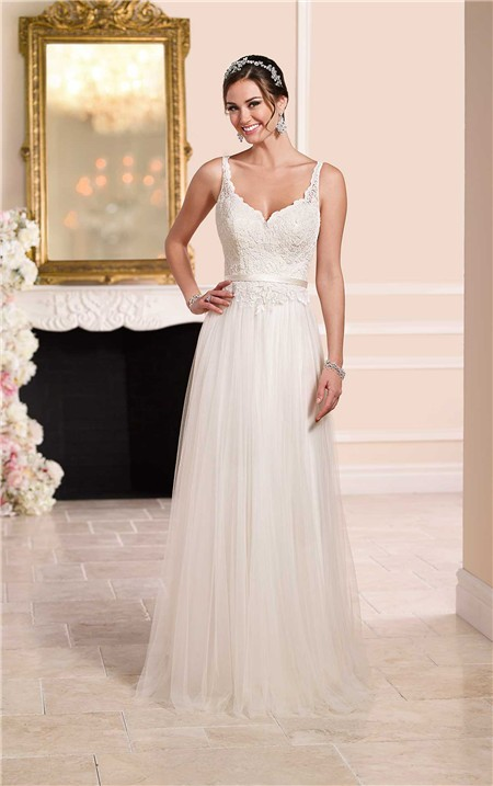 Princess a line sweetheart open back tulle lace wedding for A line lace open back wedding dress