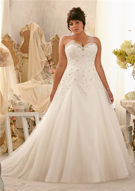 Princess A Line Sweetheart Organza Lace Draped Plus Size Wedding ...