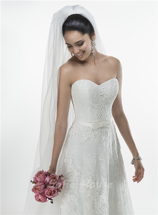Princess A Line Sweetheart Vintage Lace Wedding Dress With Short ...