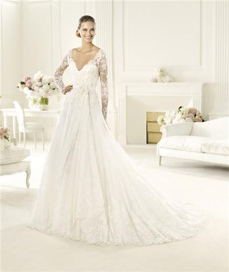 Princess a line v neck keyhole back long sleeve lace for Long sleeve princess wedding dresses