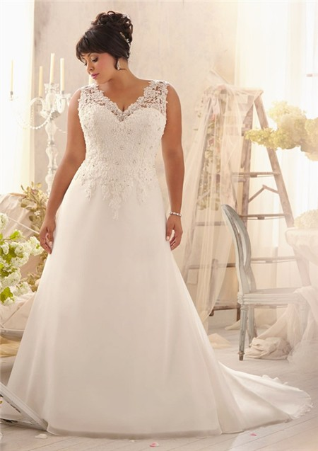 Princess a line v neck organza lace plus size wedding for Lace wedding dresses plus size