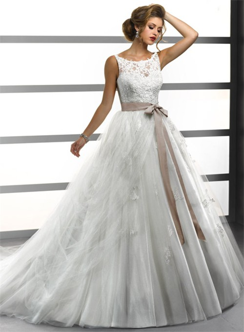Ball Gown Bateau Lace Tulle Wedding Dress With Sash Buttons