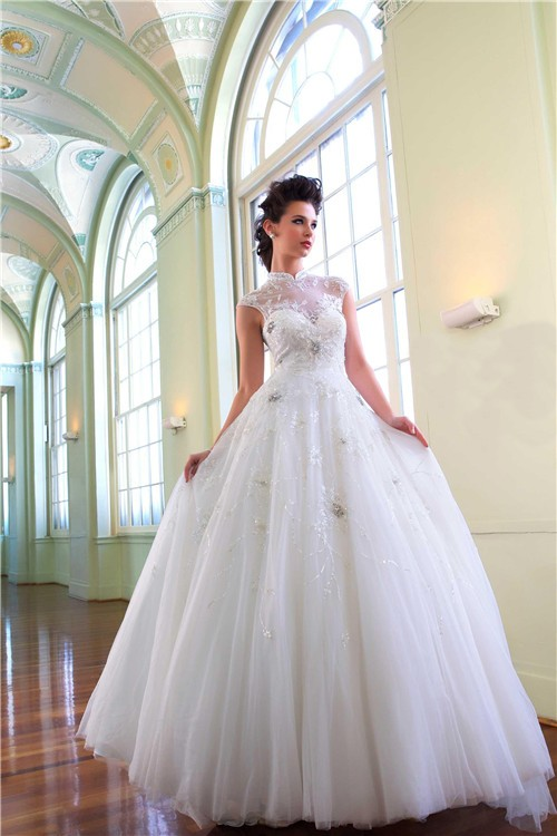 Princess Ball Gown High Neck Tulle Illusion Wedding Dress With ...