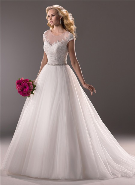 Ball Gown Illusion Neckline Tulle Lace Wedding Dress With Sheer Back