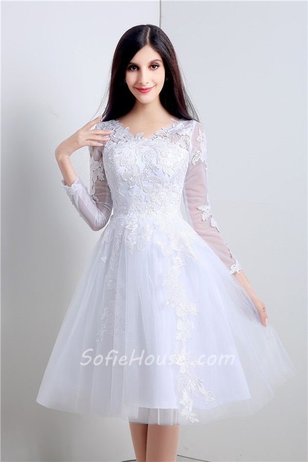 Princess Ball Gown Short White Tulle Lace Sleeve Prom Dress With Buttons