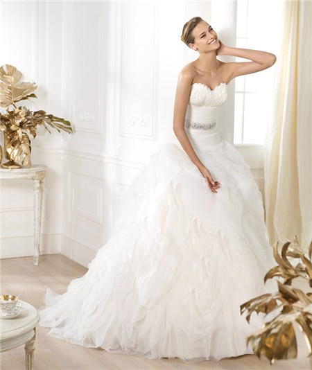Ball Gown Sweetheart Feather Neckline Layered Organza Wedding ...