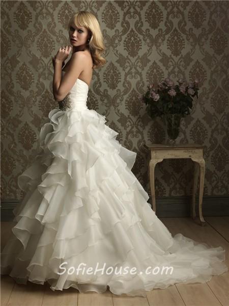 Princess ball gown sweetheart layered organza ruffle for Ruffle ball gown wedding dress