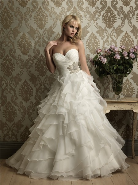 Ball Gown Sweetheart Layered Organza Ruffle Wedding Dress With Beading