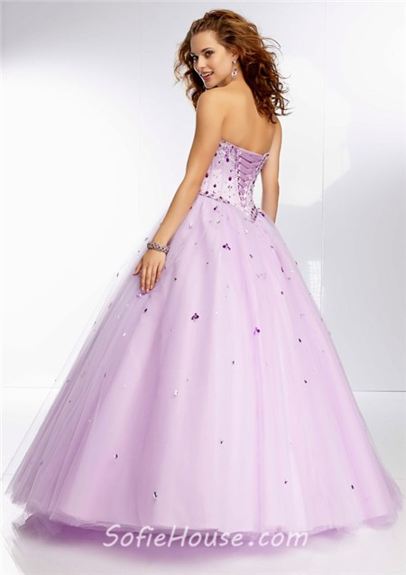 Princess Ball Gown Sweetheart Lilac Purple Satin Tulle