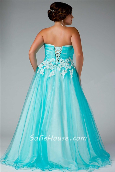 Aqua Plus Size Formal Dresses