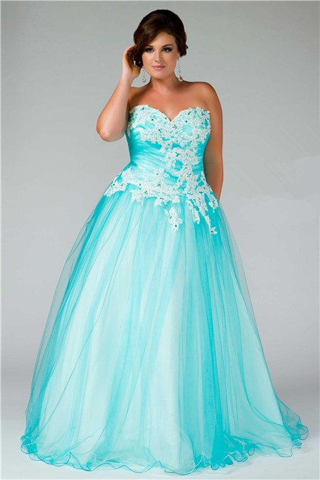 Ball Gown Sweetheart Long Aqua Blue Tulle Lace Plus Size Prom Dress