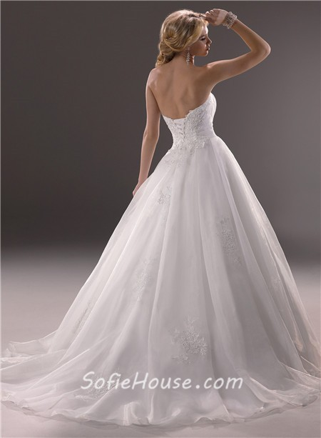 Princess ball gown sweetheart organza lace wedding dress for Princess corset wedding dresses