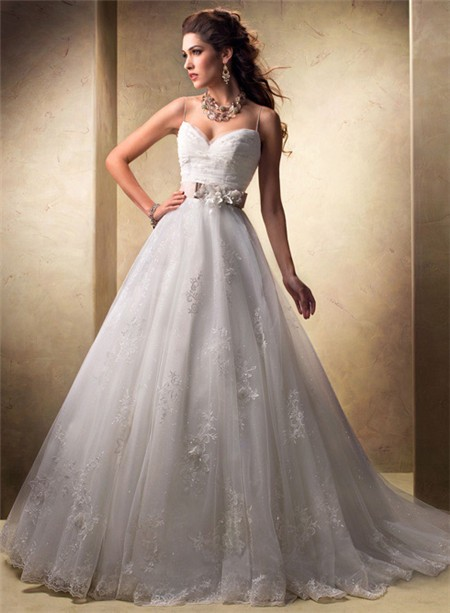 Ball Gown Sweetheart Spaghetti Strap Tulle Lace Wedding Dress With ...