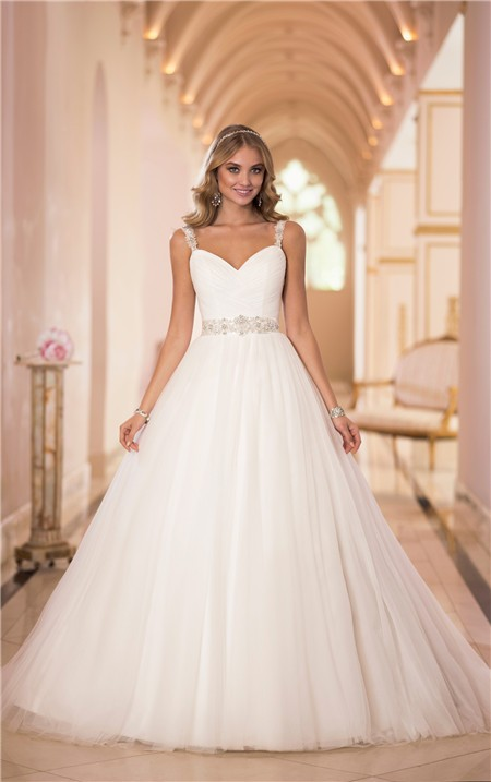 Ball Gown Sweetheart Tulle Beaded Wedding Dress With Straps Sash