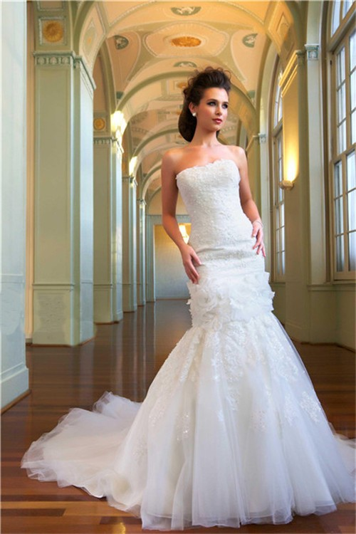 Princess mermaid strapless tulle lace beaded bridal for Princess mermaid wedding dresses