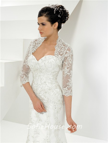 princess mermaid sweetheart lace wedding dress with bolero