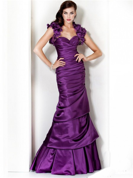 Mermaid Sweetheart Long Purple Silk Evening Dress With Flowers ...