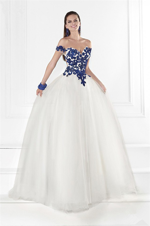 Princess Off The Shoulder Open Back White Tulle Royal Blue