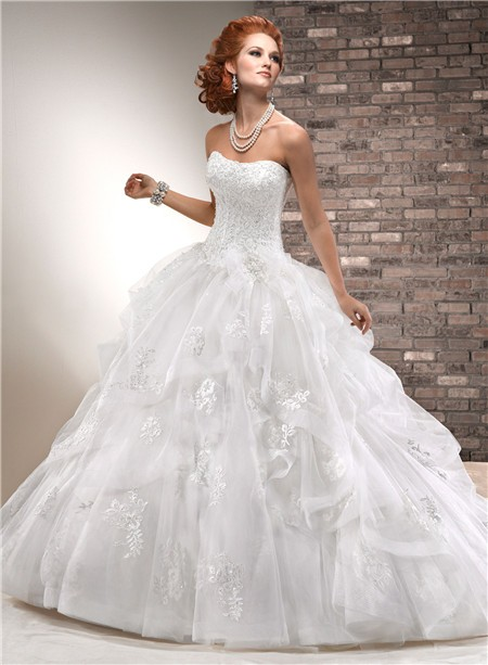 Ball Gown Strapless Corset Back Beaded Lace Tulle Wedding Dress