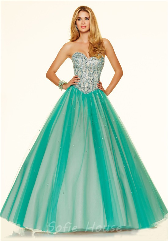 7bda9bec3b6 ... Puffy Ball Gown Strapless Corset Back Green Satin Tulle Beaded Prom  Dress ...