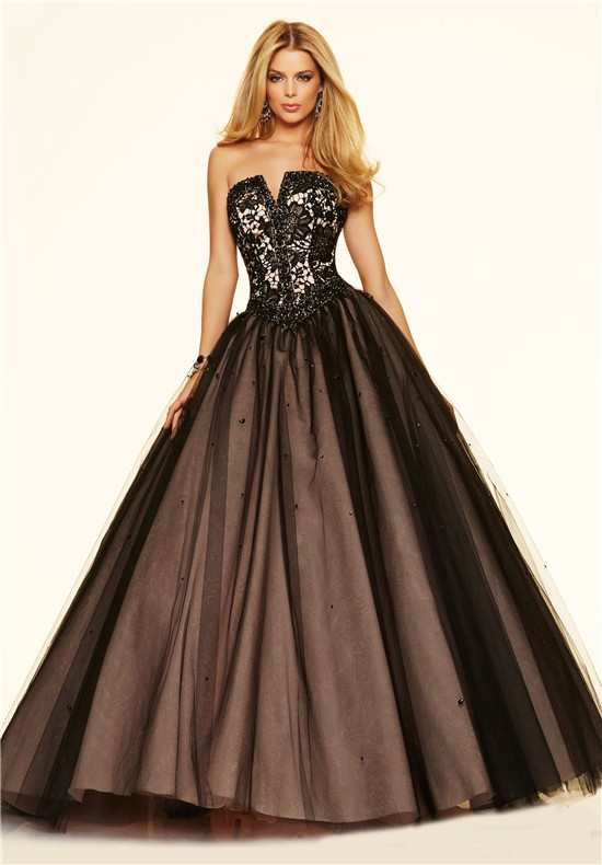 Ball Gown Strapless Corset Black Tulle Lace Beaded Prom Dress