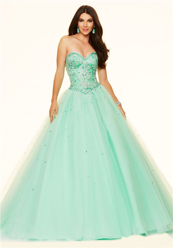 Puffy Ball Gown Strapless Mint Green Satin Tulle Beaded Prom Dress ...