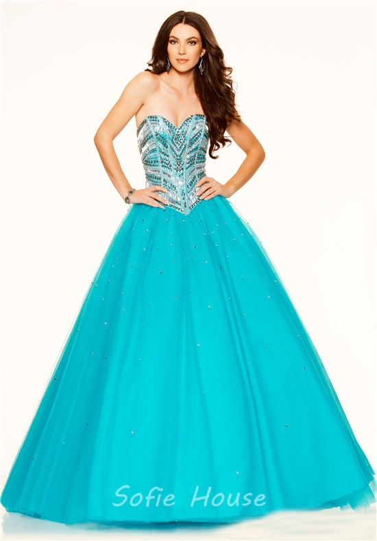 a540fc97de ... Puffy Ball Gown Strapless Turquoise Tulle Beaded Sparkly Prom Dress  Corset Back