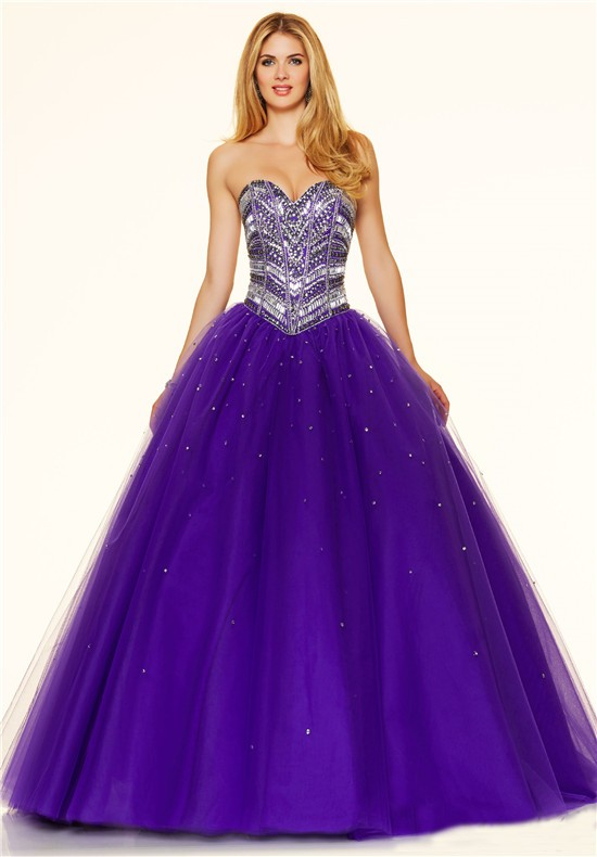 Puffy Ball Gown Strapless Purple Tulle Beaded Sparkly Prom Dress