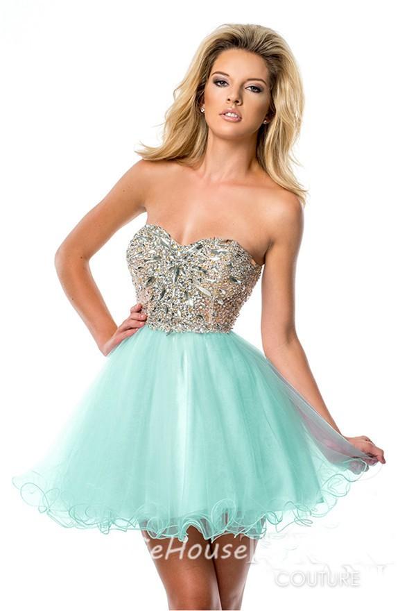 beaded strapless blue short dress