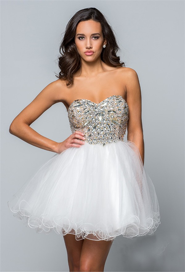 Strapless Short Mini White Tulle Beaded Cockatil Prom Dress Corset ...