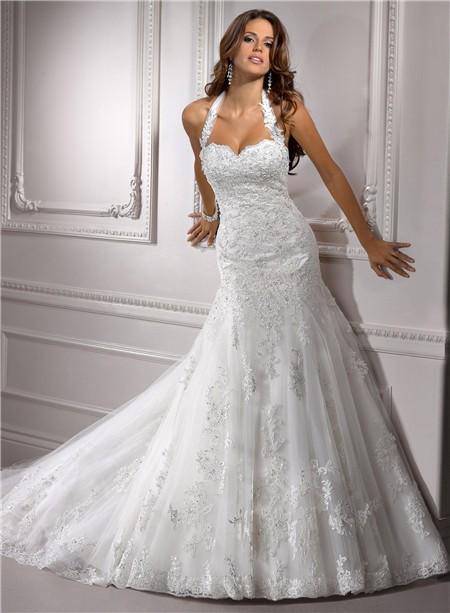 Wedding dresses: beaded wedding dress with straps