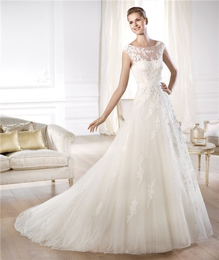Romantic A Line Illusion Bateau Neckline Open Back Tulle